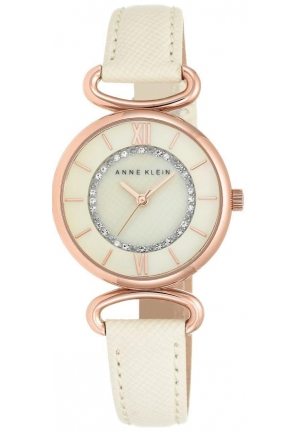 Anne Klein Women's Glitter Accented Rose Gold-Tone and Ivory Strap Watch
