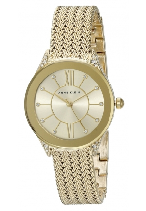 Anne Klein Women's Gold-Tone Stainless Steel Mesh Bracelet Watch 30mm