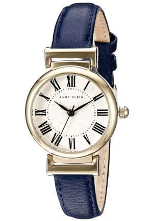 Anne Klein Women's  Gold-Tone and Navy Blue Leather Strap Watch