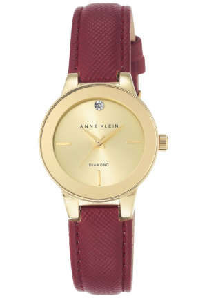 WOMEN'S DIAMOND ACCENT RED LEATHER STRAP WATCH 30mm