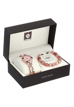 Anne Klein Women's Rose Gold-Tone Chain Bracelet Watch & Beaded Bracelet Set 30mm