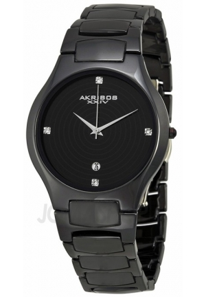 Akribos XXIV Black Ceramic Ladies Watch AK516BK