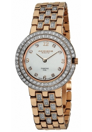 Akribos XXIV Impeccable Diamond Rose Gold-tone Bracelet Ladies Watch