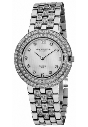 Akribos XXIV Impeccable Diamond Silver-tone Bracelet Ladies Watch