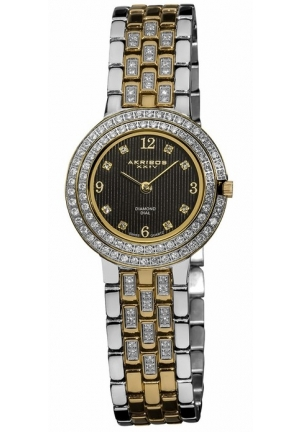 Akribos XXIV Impeccable Diamond Two-tone Bracelet Ladies Watch