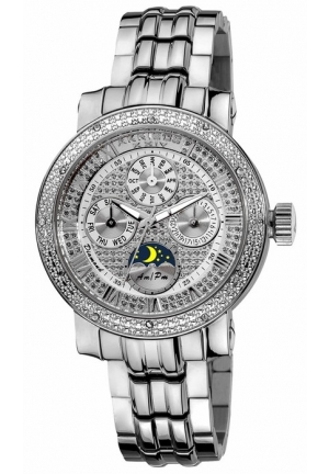 Akribos XXIV Grandiose Diamond Multi-Function Stainless Steel Ladies Watch
