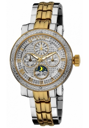 Akribos XXIV Grandiose Diamond Multi-Function Two-tone Steel Ladies Watch