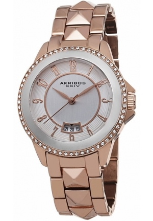 Akribos XXIV Silver Dial Rose Gold-tone Ladies Watch AK654RG