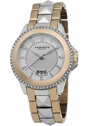 Akribos XXIV Silver Dial Two-tone Ladies Watch AK654TTG