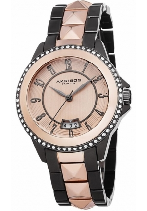 Akribos XXIV Pink Dial Two-tone Ladies Watch AK654TTR