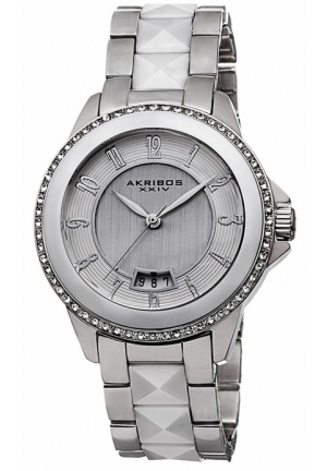 Akribos XXIV Silver Dial and Ceramic Ladies Watch AK654WT