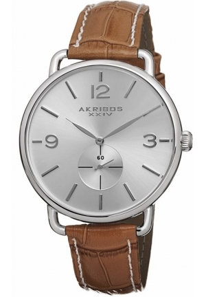 Akribos XXIV Essential Silver Dial Tan Leather Ladies Watch AK658OR
