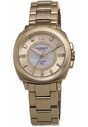 Akribos XXIV Mother of Pearl Dial Gold-tone Ladies Watch
