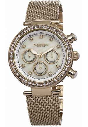 Akribos XXIV Multi-Function White Dials Gold-tone Mesh Ladies Watch