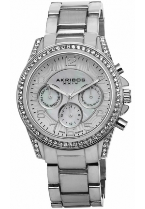 Akribos XXIV Multi-Function Mother of Pearl Dial Silver-tone Ladies Watch