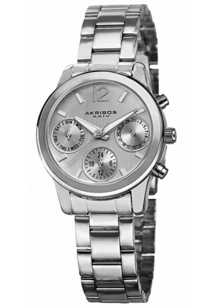 Akribos XXIV Multi-Function Silver Dial Silver-tone Alloy Ladies Watch AK709SS