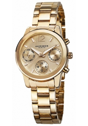 Akribos XXIV Ultimate Multi-Function Gold Dial Gold-tone Ladies Watch