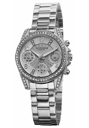 Akribos XXIV Multi-Function Silver Dial Silver-tone Alloy Ladies Watch