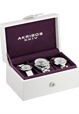 Akribos XXIV Women's Analog Display Swiss Quartz Silver Watch Set