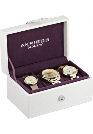 Akribos XXIV Women's AK738YG Analog Display Swiss Quartz Gold Watch Set