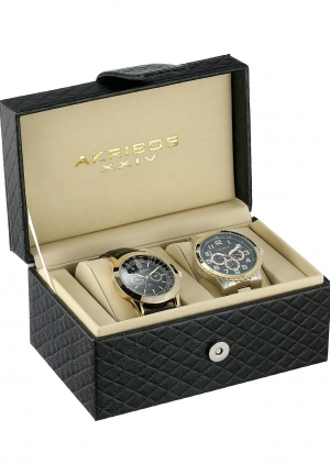 Akribos XXIV Men's Analog Display Quartz Black Watch Set