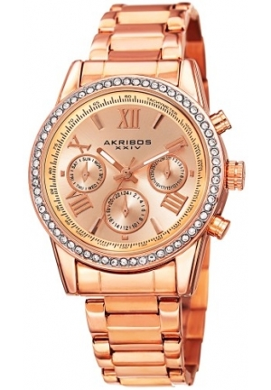 Akribos XXIV Women's Round Rose Gold Ion-Plated Crystal Accent Watch