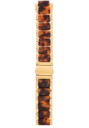 Michael Kors Strap MK5448 Rocktop Strap Gold Coated Steel Bracelet with Plastic Tortoise Inserts 22mm