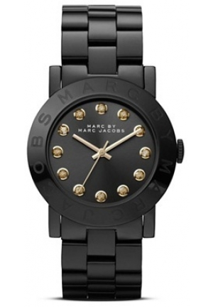 Amy Black IP Stainless Steel Bracelet Black Dial Crystal Markers Watch 36mm