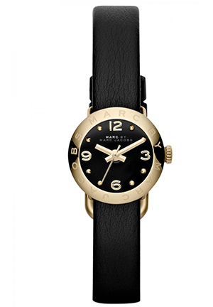 Amy Dink Gold Black Leather Ladies Watch 20mm