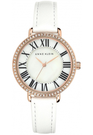 ANNE KLEIN WOMEN LEATHER STRAP WATCH 36MM