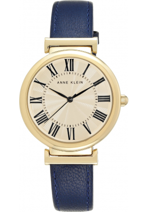 ANNE KLEIN WOMEN NAVY LEATHER STRAP WATCH 38MM