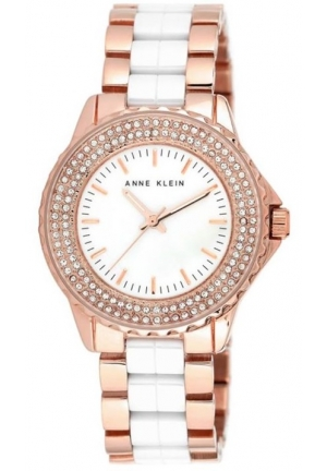 ANNE KLEIN WOMEN'S WHITE CERAMIC AND ROSE GOLD-TONE BRACELET WATCH 36MM