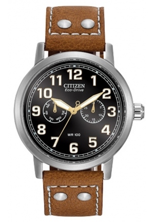 "Citizen Men's Eco-Drive ""Avion"" Brown Leather Strap and Stainless Steel Watch"