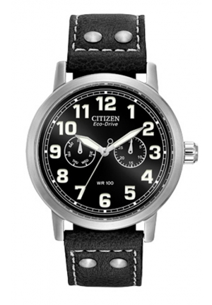 Citizen Men's Eco-Drive Avion Black Leather Strap Watch