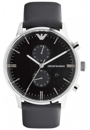 Emporio Armani Classic Chronograph Black Leather Mens Watch AR0397