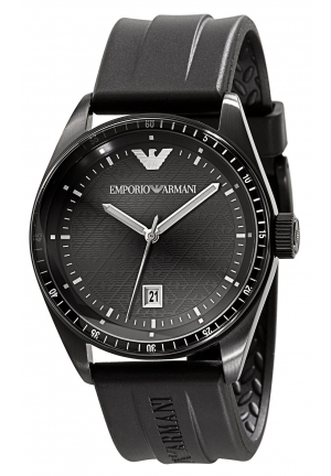 EMPORIO ARMANI Men's Black Rubber Strap 43mm