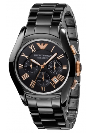 EMPORIO ARMANI Men's Chronograph Black Ceramic Bracelet 42mm
