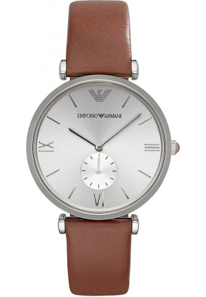 RETRO SILVER DIAL BROWN LEATHER STRAP MENS WATCH