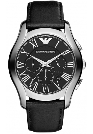 EMPORIO ARMANI Men's Chronograph Black Leather Strap 45mm