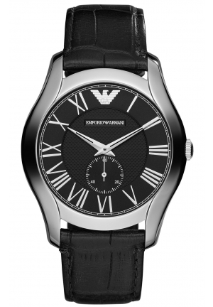 EMPORIO ARMANI Men's Black Croco Leather Strap 43mm
