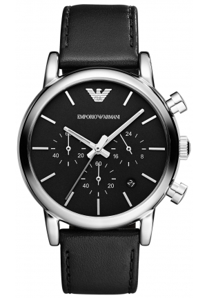 EMPORIO ARMANI Men's Chronograph Black Leather Strap 41mm