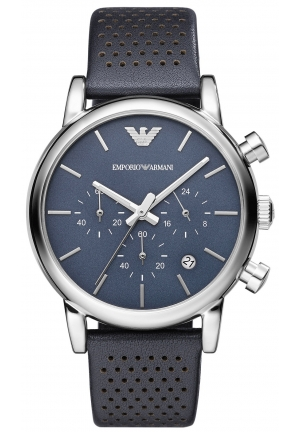 EMPORIO ARMANI Men's Chronograph Blue Leather Strap 41mm