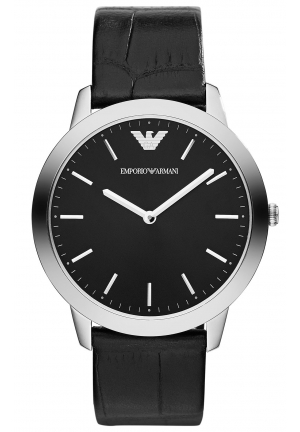 EMPORIO ARMANI Men's Dino Slim Black Croco Leather Strap 42mm