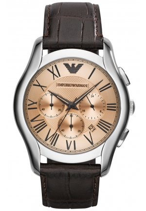 EMPORIO ARMANI Unisex Chronograph Brown Croco Leather Strap Watch 45mm