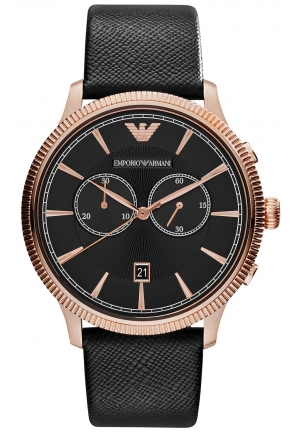 EMPORIO ARMANI Men's Chronograph Black Saffiano Leather Strap Watch 43mm