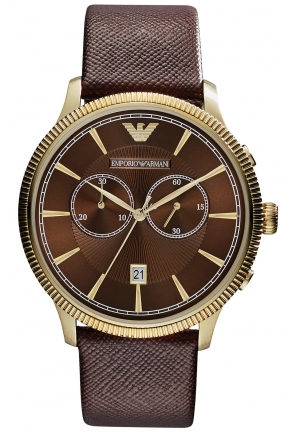 EMPORIO ARMANI Men's Chronograph Brown Saffiano Leather Strap Watch 43mm