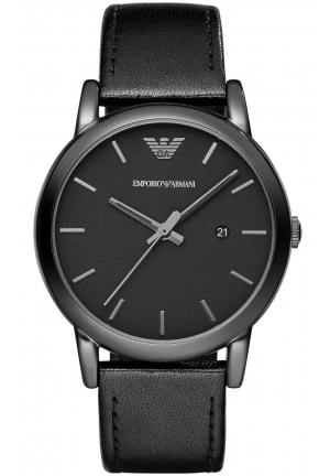 EMPORIO ARMANI Men's Chronograph Gray Leather Strap Watch 43mm