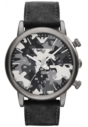 EMPORIO ARMANI Men's Chronograph Black Nubuck Leather Strap Watch 46mm