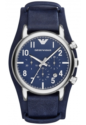 EMPORIO ARMANI Men's Chronograph Blue Leather Cuff Strap Watch 41mm