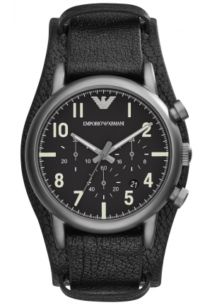 EMPORIO ARMANI Men's Chronograph Matte Black Leather Cuff Strap Watch 41mm